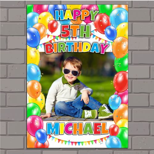 Personalised Balloons & Bunting Birthday Party PHOTO Banner Poster N146